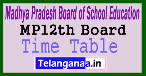 MP Board 12th Time Table 2018