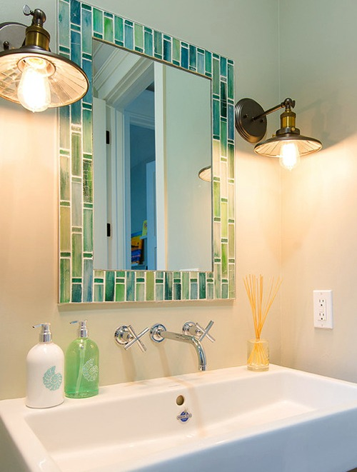 Seaglass Color Mosaic Mirror Bathroom