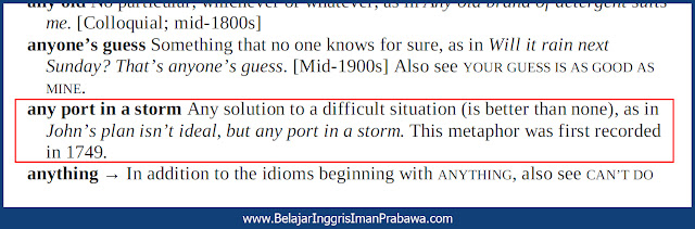 Arti Any Port In a Storm