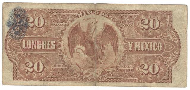 Billetes Mexicanos 20 Pesos Banco de Londres y Mexico