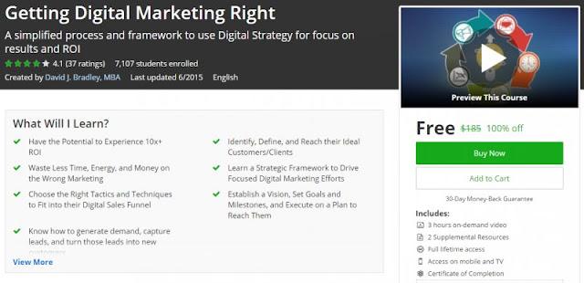[100% Off] Getting Digital Marketing Right| Worth 185$
