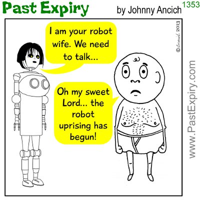 Cartoon about robots, relaxation, cliche,