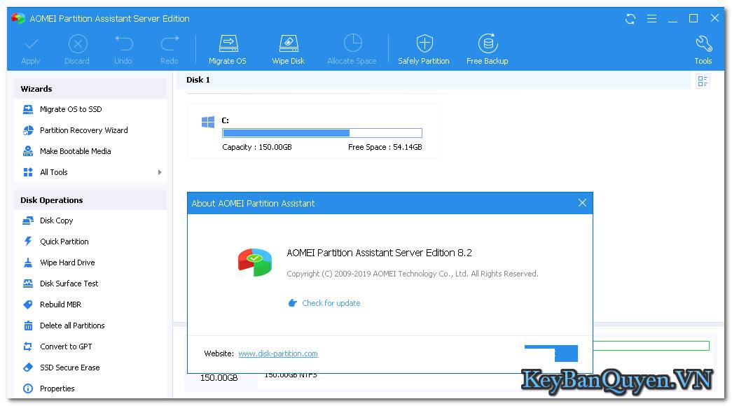 Download AOMEI Partition Assistant Server 8.2 Full Key + ISO Boot, Phần mềm phân vùng ổ cứng máy chủ.