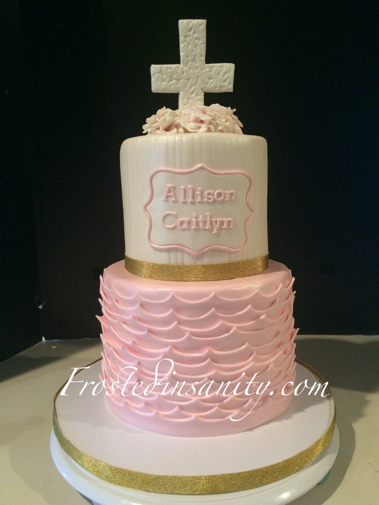 Frosted Insanity Pink And Gold Baptism Cake