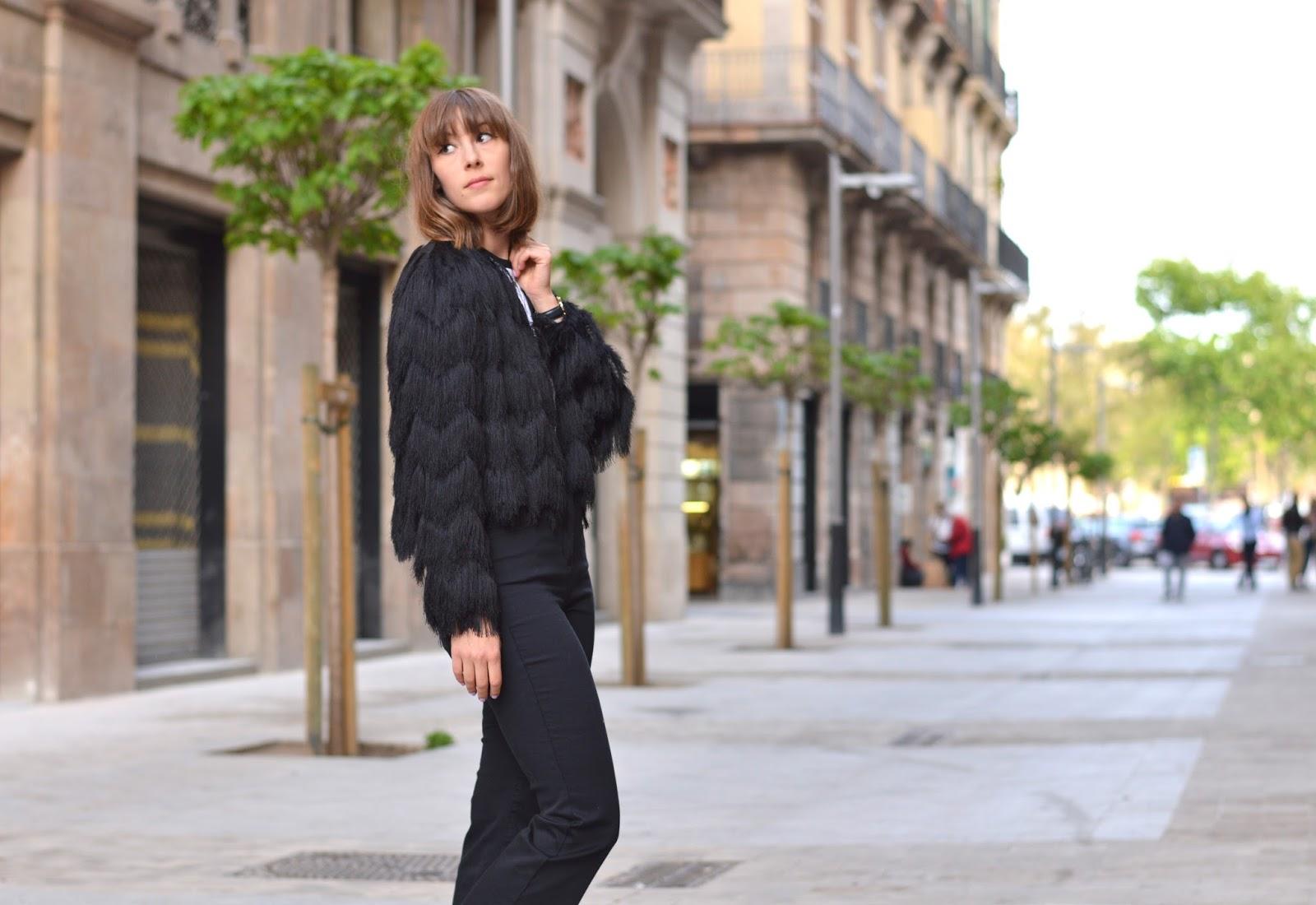 How to wear style tassel jacket, kick flares and platform espadrilles