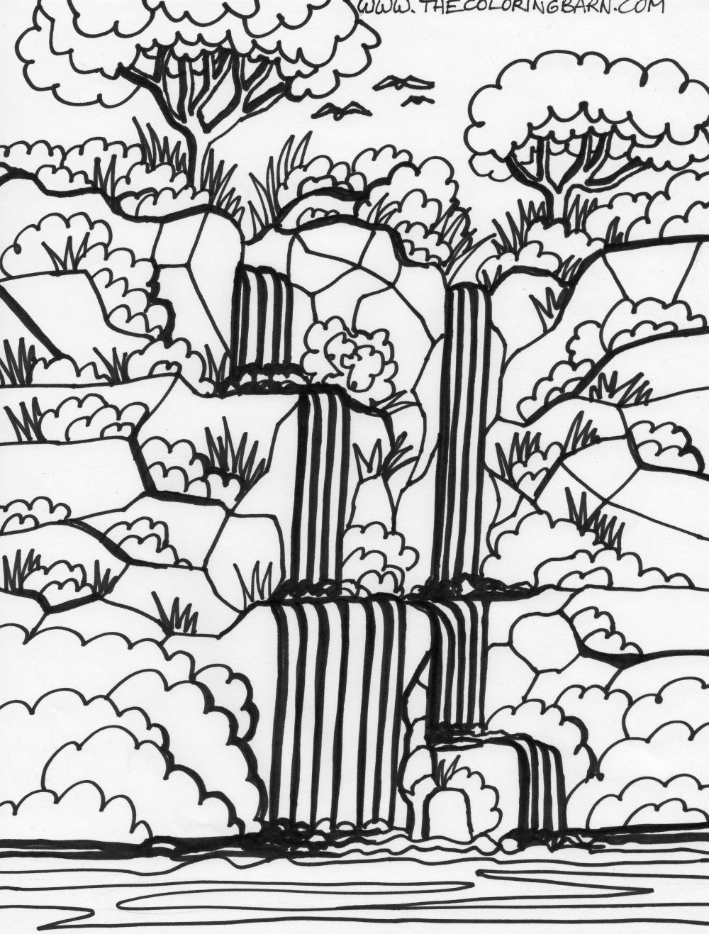 Coloring pages for kids waterfall coloring pages for kids for Waterfall coloring page