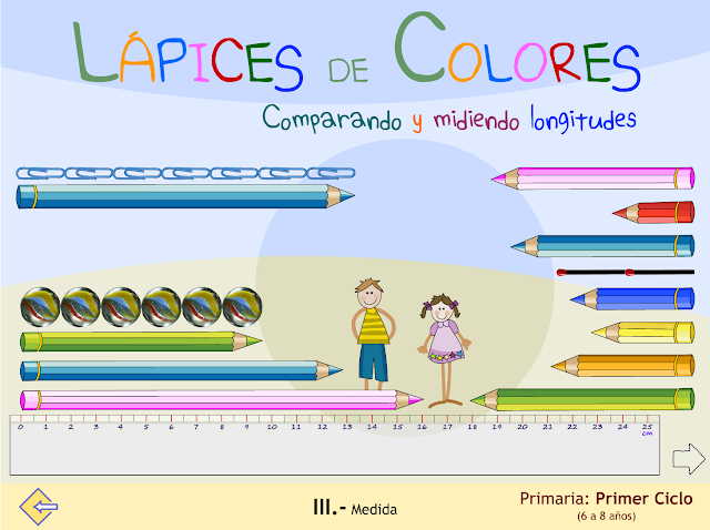 Lápices de colores. Comparando y midiendo longitudes.