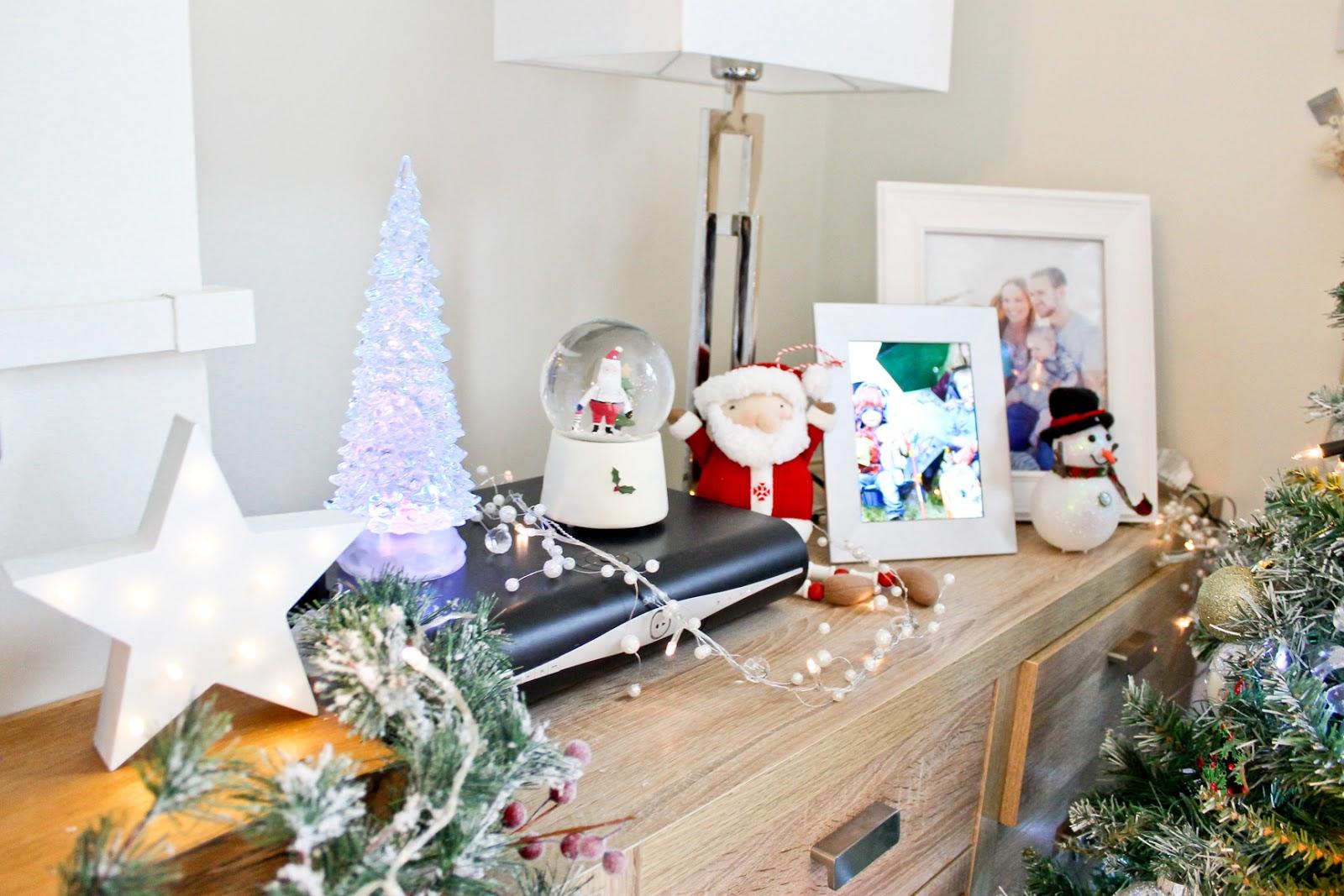 christmas home decor tour, musical christmas snow globe