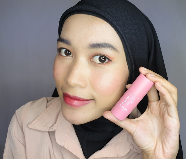 Review The Saem Cream Stick Blusher #02 Fire Rose