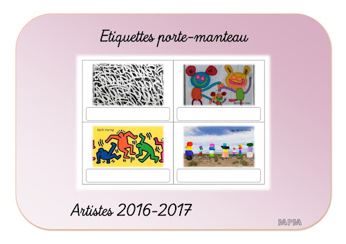 Etiquettes porte-manteau artistes 2016 maternelle