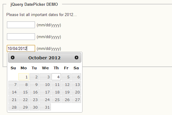jquery datepicker dynamic binding example
