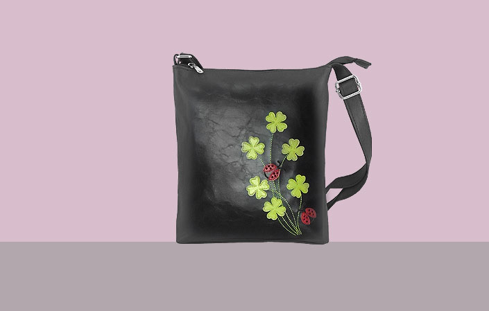 LAVISHY vegan leather crossbody bag with good luck four leaf clovers and ladybug appliques