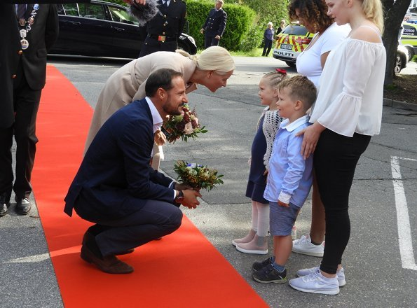 Crown Prince Haakon and Crown Princess Mette-Marit of Norway visited Glemmen Upper Secondary School