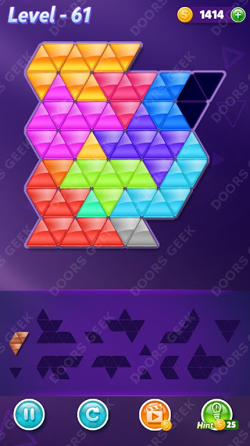 Block! Triangle Puzzle Champion Level 61 Solution, Cheats, Walkthrough for Android, iPhone, iPad and iPod