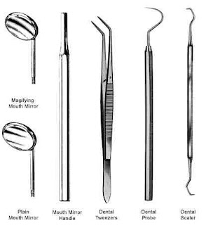 Instruments use for examine the mouth and teeth