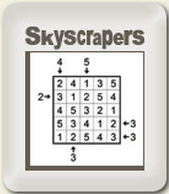 Online Daily Skyscrapers Puzzle (Logical Thinking Brain Game)