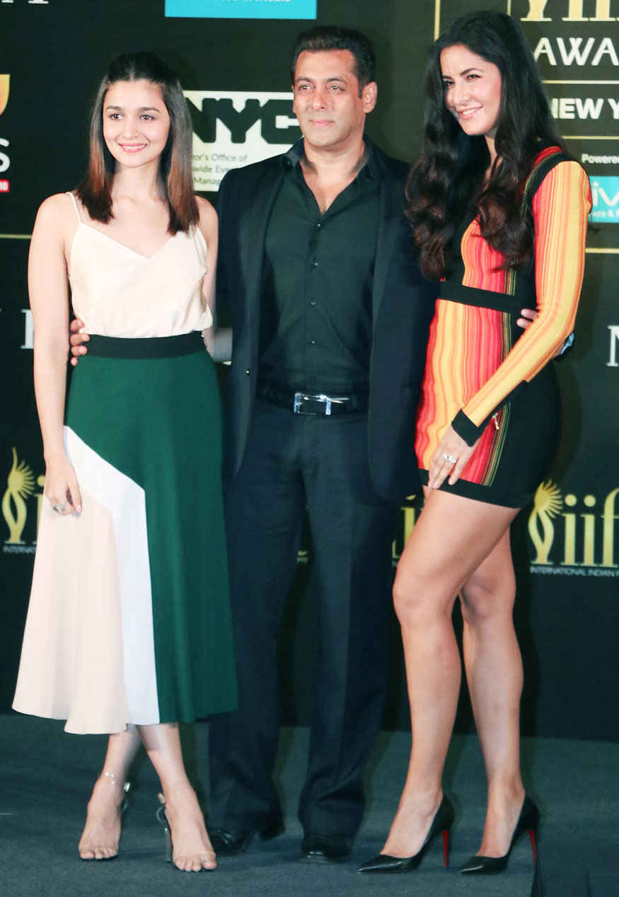Salman Khan, Katrina Kaif and Alia Bhatt at IIFA 2017 Press Conference