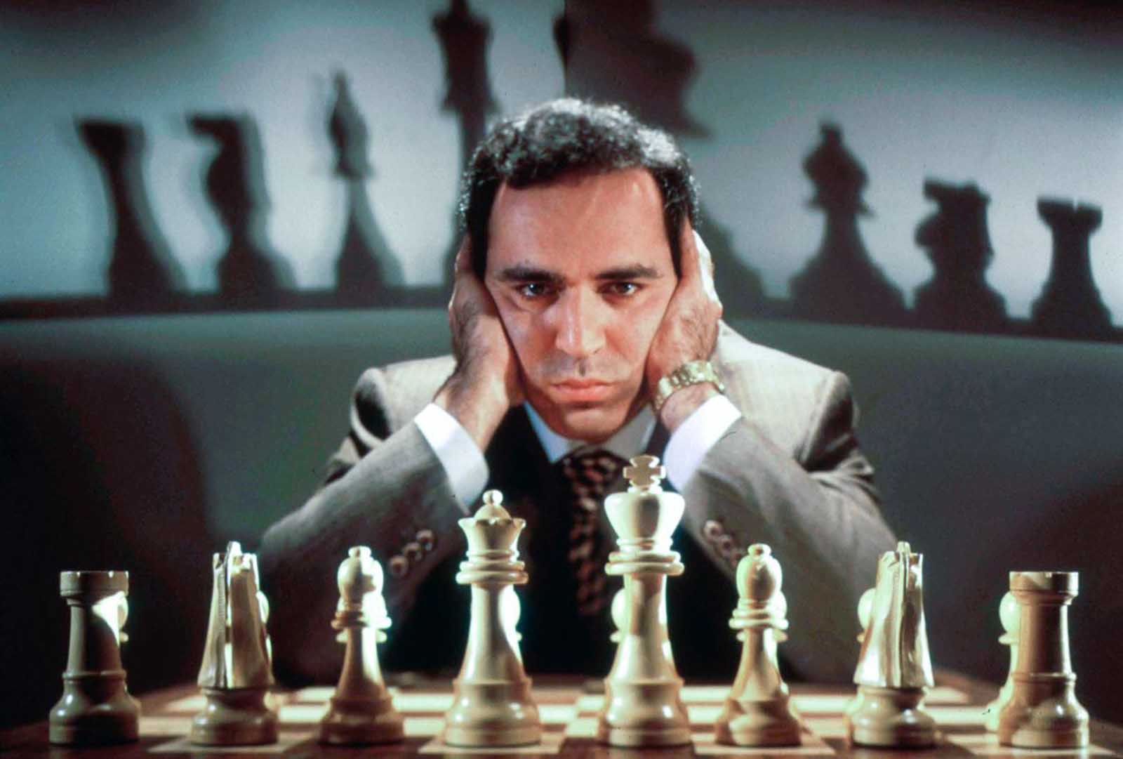 Kasparov poses for a photo while training for his rematch against Deep Blue.