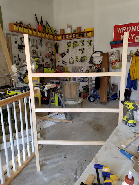 garage with rail and ryobi tools for woodworking