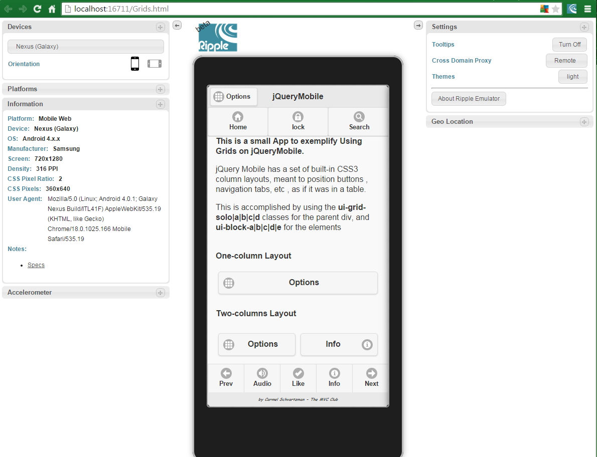 The ASP.NET MVC Club: jQuery Mobile App using Grids For