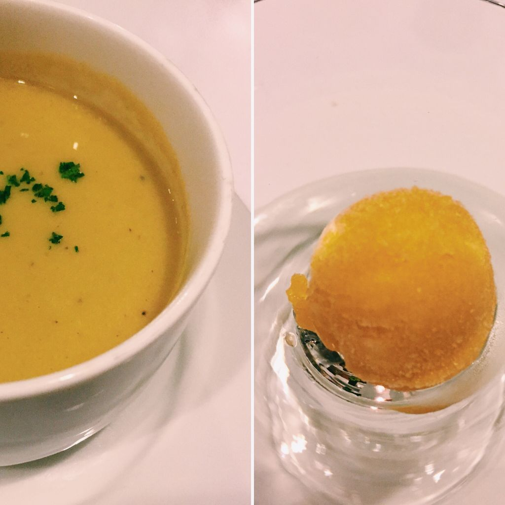 Cream of broccoli and asparagus soup and mango sorbet at Top of the Citi by Chef Jessie