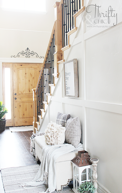Two story entry way inspiration. Two story entry way decor and decorating ideas. Farmhouse style entry way