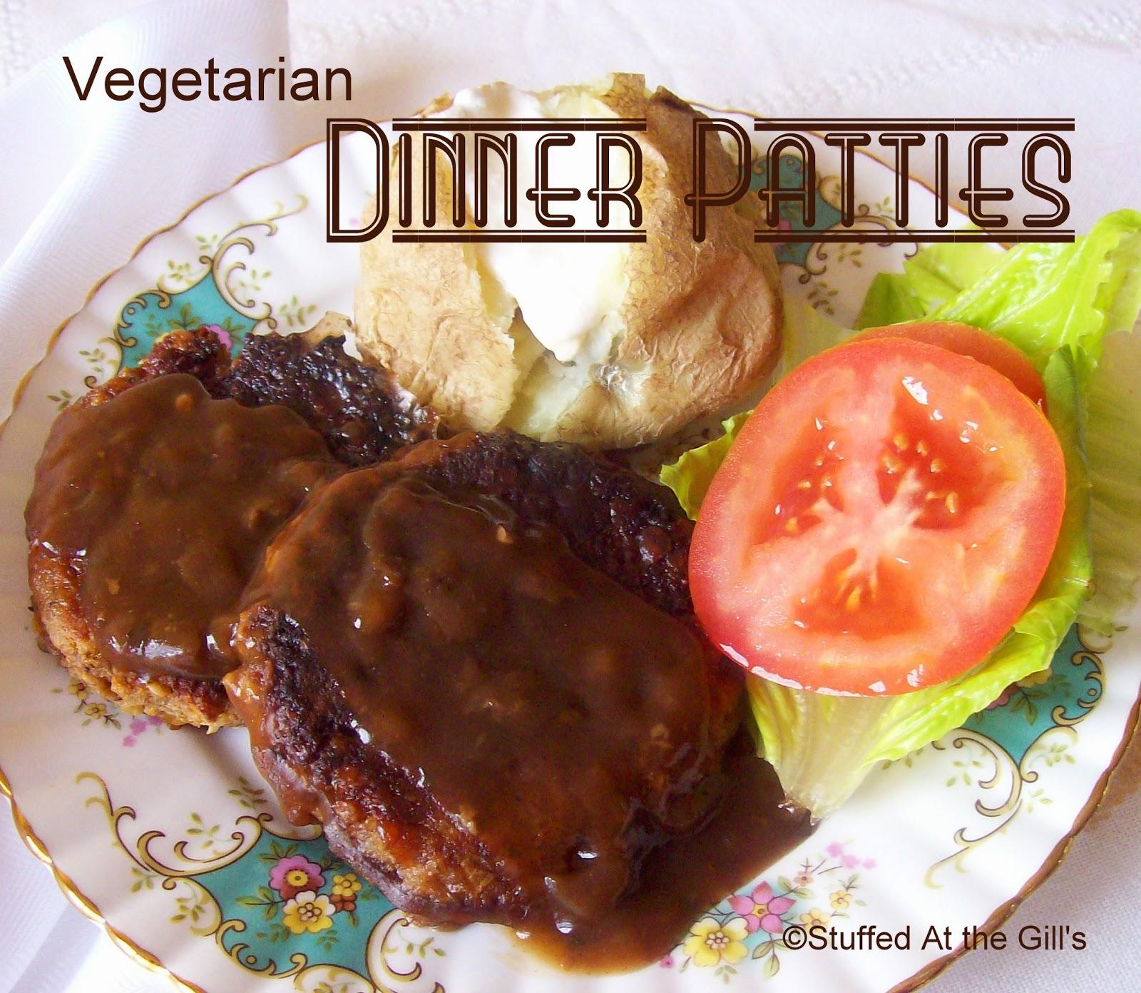 Vegetarian Dinner Patties served with gravy.