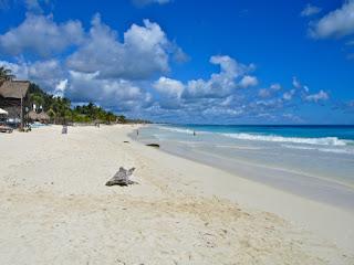White Soft Sand Beach Tulum Mexico Caribbean Om