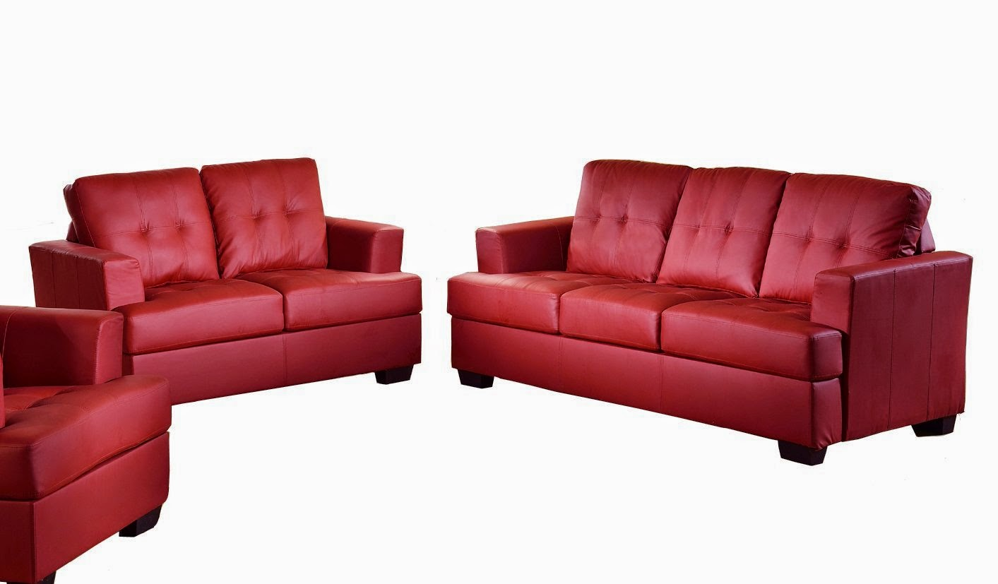 Beverly 2-Piece Contemporary red leather sofa set