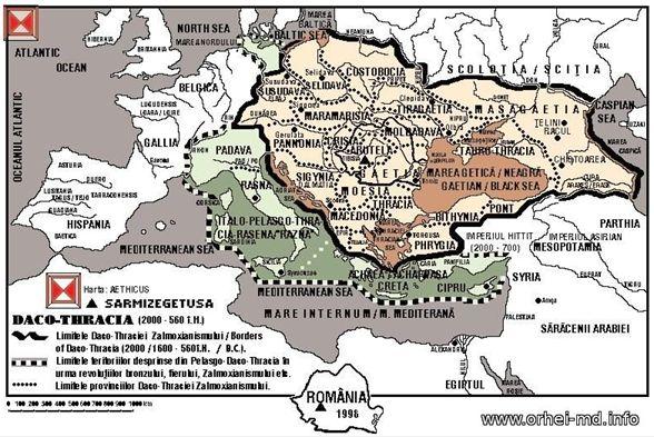 Aria de răspândire a triburilor de origine indo-europeană tracică