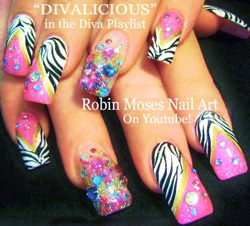 Robin Moses Nail Art Hot Pink Nails With Black And Silver