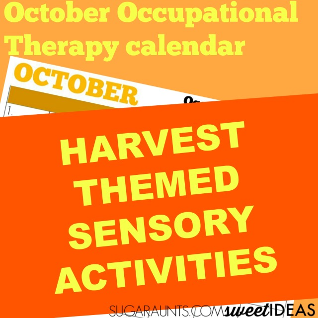 Harvest themed October sensory calendar for occupational therapy ideas