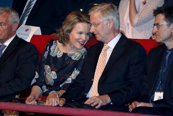 Queen Mathilde of Belgium and King Philippe of Belgium attends the 'Best of Belgium' concert to celebrate the 35th anniversary of concert hall Ancienne Belgique