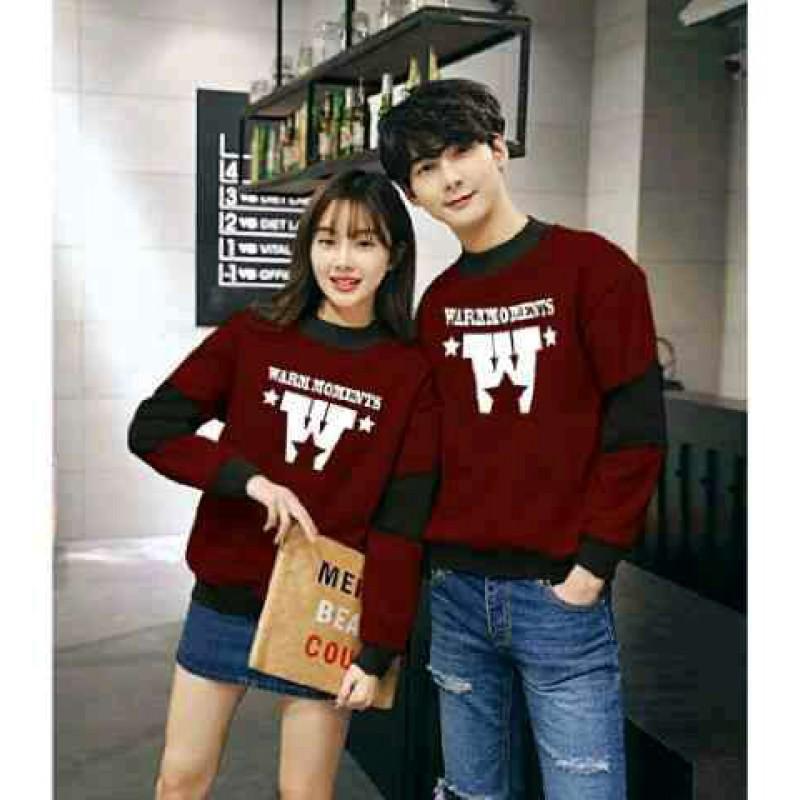 Jual Online Sweater Warm Maroon Black Couple Murah Jakarta Bahan Babytery Terbaru