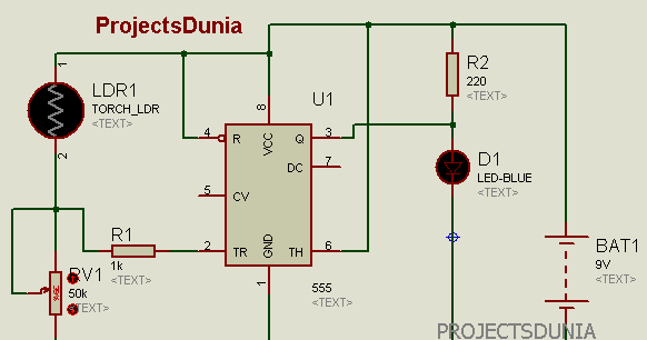 Automatic Street Light Controller Circuit Using LDR And 555