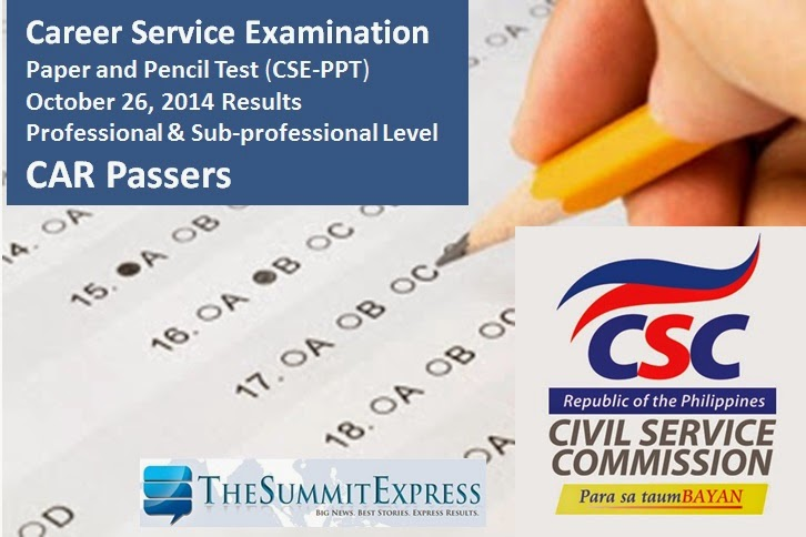 CAR Passers: October 2014 Civil service exam results (CSE-PPT)