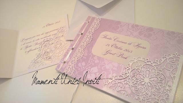 4 Guest Book e Card d'auguri per la Cresima di LauraColore Bianco Colore Lilla Guest Book Partecipazioni intagliate Partecipazioni Pizzo pizzo