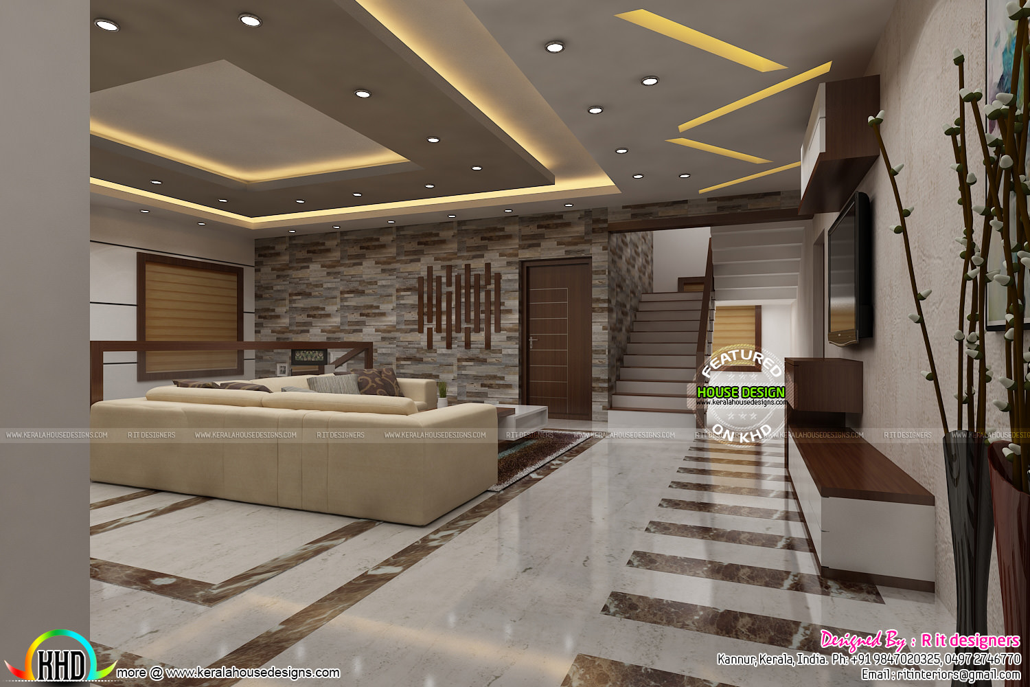 Most modern kerala living room interior kerala home for Modern house design inside