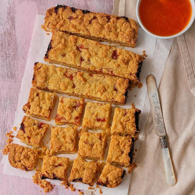 Apricot jam squares.