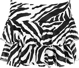 Black and white zebra stripe mini rah-rah skirt