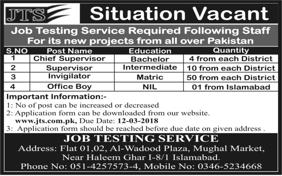 Job Testing Service JTS  Latest Jobs 2018