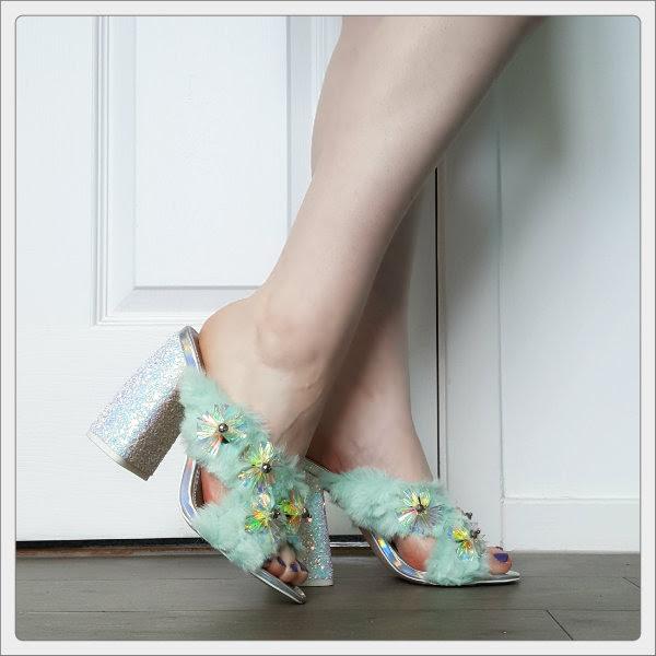 wearing asos headlines embellished glitter heels