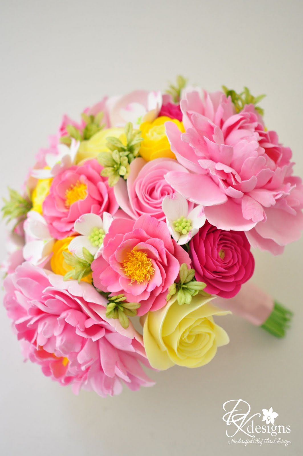 DK Designs Pink and Yellow Wedding Bouquet for a Southern Wedding