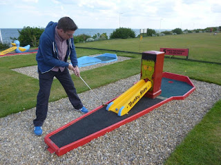 Playing Crazy Golf at the North Marine Putting Greens in Bridlington