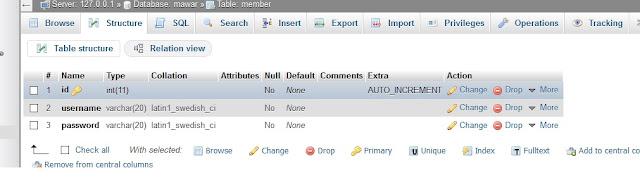 Membuat Type Data Tabel database dengan Query