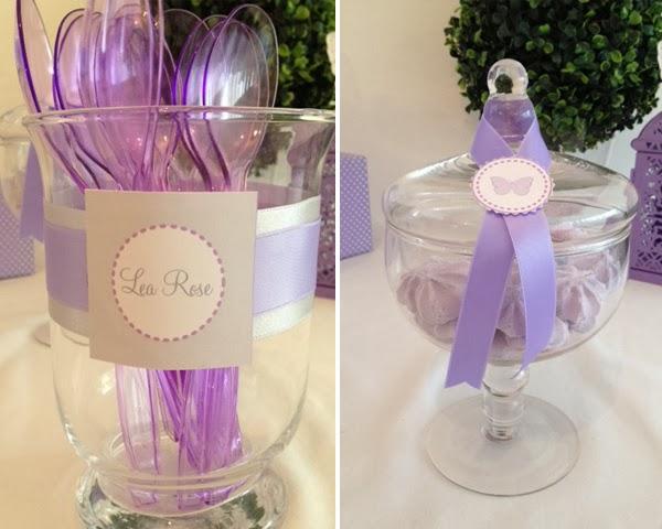 cuillères et meringues violettes pour theme d'anniversaire papillon