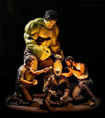 ghost rider, hulk, wolverine y tony stark