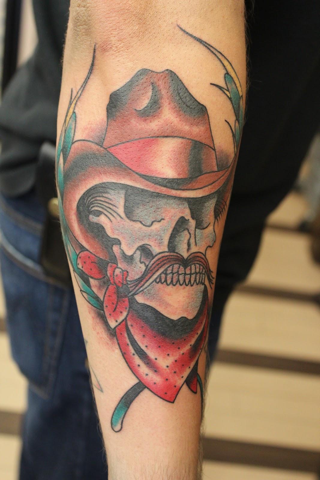 Cowboy Skull Tattoo By Buddy Holiday At Downtown Tattoo Las