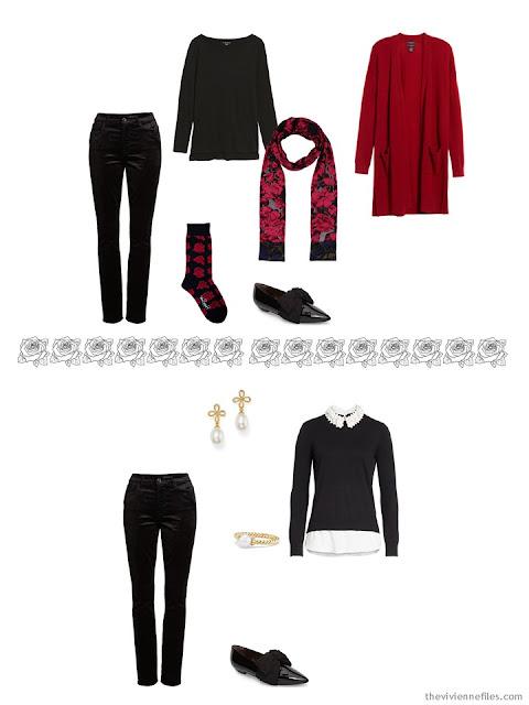 2 ways to wear black velvet jeans from a pretty travel capsule wardrobe