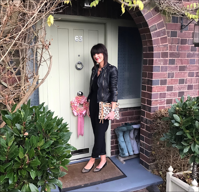My Midlife Fashion, Zara leather biker jacket, boden studded pointed flat shoes, village england thurlaston, great plains tuxedo jumpsuit